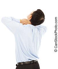 geschäftsmann, erfahren, physisch, hals, unbehagen