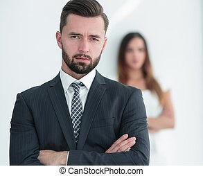 geschäftsmann, frau, hintergrund, porträt