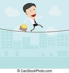 Hoch, tightrope, geht, draht, geschäftsmann. Gehen, draht,... EPS ...