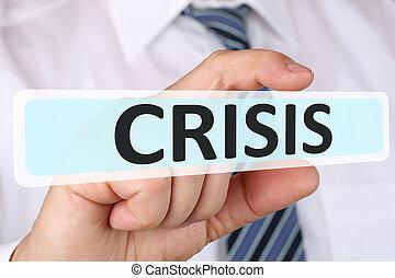 geschäftsmann, geschäftskonzept, mit, krise, finanzielle leitung, depts
