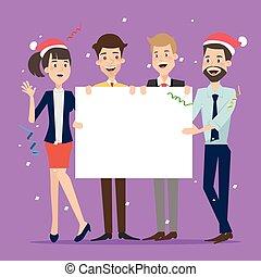 geschäftsmann, gruppe, brett, besitz, weihnachten