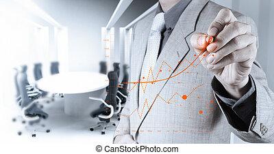 geschäftsmann, hand, arbeitende , mit, neu , modern, edv, und, geschäftsstrategie, als, begriff