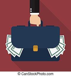 geschäftsmann, hand holding, aktentasche, voll, von, geld