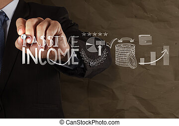 geschäftsmann, hand, zeichnung, passiv, einkommen, berührungsbildschirm, edv, als, begriff