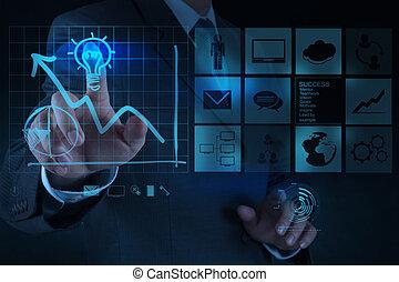 geschäftsmann, hand, zieht, lightbulb, mit, neuer computer, schnittstelle, als, loesung, geschäftskonzept