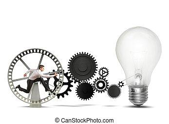 geschäftsmann, idee, antreiben