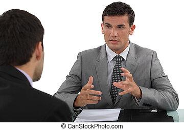 geschäftsmann, in, interview