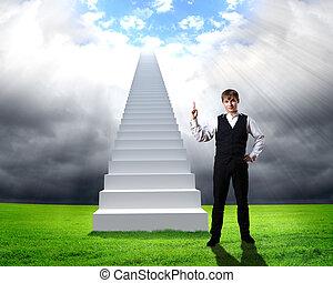 geschäftsmann, in, klage, stehende , bei, treppe