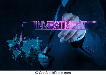 geschäftsmann, investition, zeigen, hand