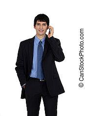 geschäftsmann, junger, telefon