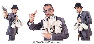 geschäftsmann, kriminell, mit, säcke, von, geld