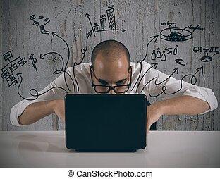 geschäftsmann, laptop, arbeitende