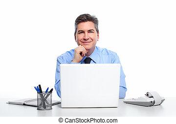 geschäftsmann, laptop, computer.