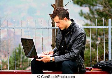 geschäftsmann, laptop, junger
