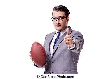 geschäftsmann, mit, amerikanische , fußball, freigestellt, weiß