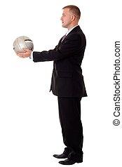 geschäftsmann, mit, fußball