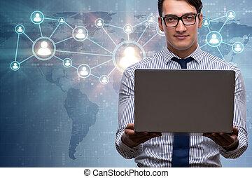 geschäftsmann, mit, laptop, in, sozial, vernetzung, begriff