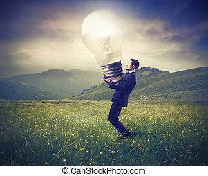 geschäftsmann, mit, lightbulb