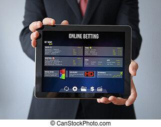 geschäftsmann, mit, wette, online, tablette