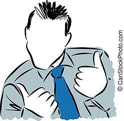 geschäftsmann, positive einstellung, illustration.eps