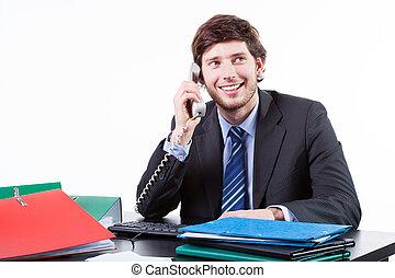 geschäftsmann, reden telefon