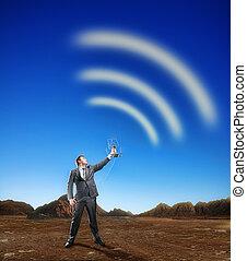geschäftsmann, schaffen, airwaves, mit, antenne