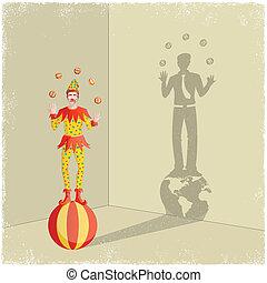 geschäftsmann, schatten, guss, jonglieren, clown