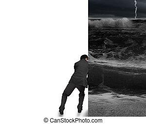 geschäftsmann, schieben, weg, stürmischer ozean, wand