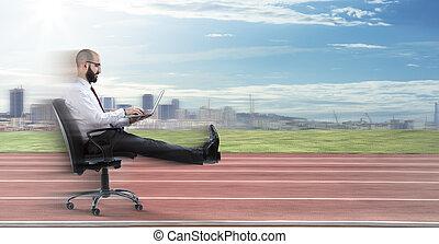 geschäftsmann, -, schnell, geschaeftswelt, sitzen
