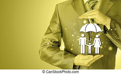 geschäftsmann, schuetzen, familie, versicherung, begriff