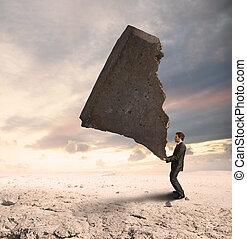 geschäftsmann, schwierigkeiten, herausfordernd