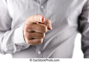 geschäftsmann, sie, finger, zeigt