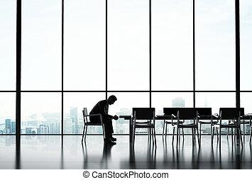geschäftsmann, sitzen, alleine