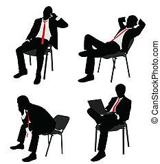 geschäftsmann, sitzen, auf, der, stuhl
