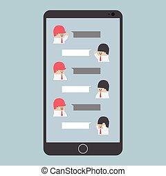 geschäftsmann, smartphone, vortrag halten , plaudern, leer
