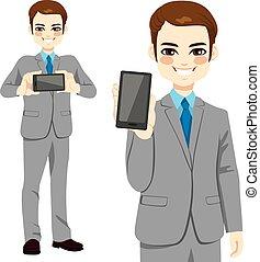 geschäftsmann, smartphone, zeigen