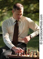 geschäftsmann, spiel, spielenden schach