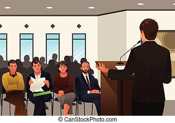 geschäftsmann, sprechen, an, a, podium, in, a, konferenz, oder, firmenschulung