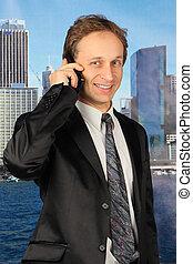geschäftsmann, sprechen, Telefon