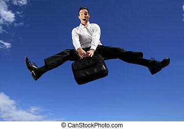 geschäftsmann, springende , aktentasche, ekstatisch