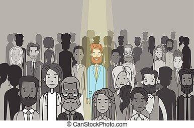 geschäftsmann, stehen, individuum, führer, crowd, heraus