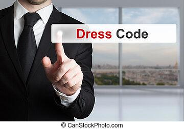 geschäftsmann, taste, code, kleiden, anschieben
