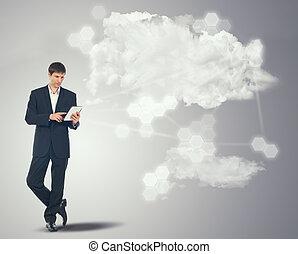 geschäftsmann, touchscreen, wolkenhimmel, tablette, internet