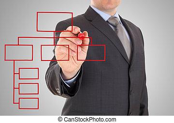 geschäftsmann, und, rotes , organisation, tabelle, auf, a, weißer ausschuß