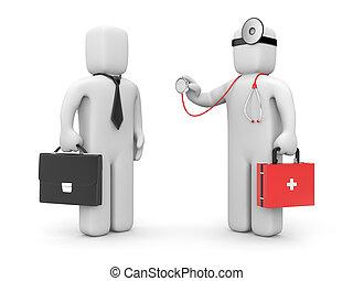 geschäftsmann, untersuchen, stethoskop, doktor