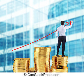 geschäftsmann, zieht, wachsen, pfeil, von, firma, statistik, aus, a, stange geld