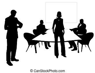 geschäftsmenschen, an, der, konferenzzimmer