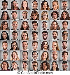 geschäftsmenschen, collage, positiv, gesichter, glücklich