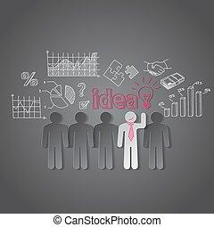 geschäftsmenschen, diskussionsrunde, gemeinschaftsarbeit, idee, vektor