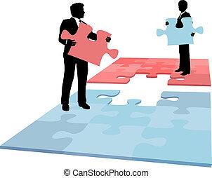 geschäftsmenschen, fusion, zusammenarbeit, loesung, stück, puzzel